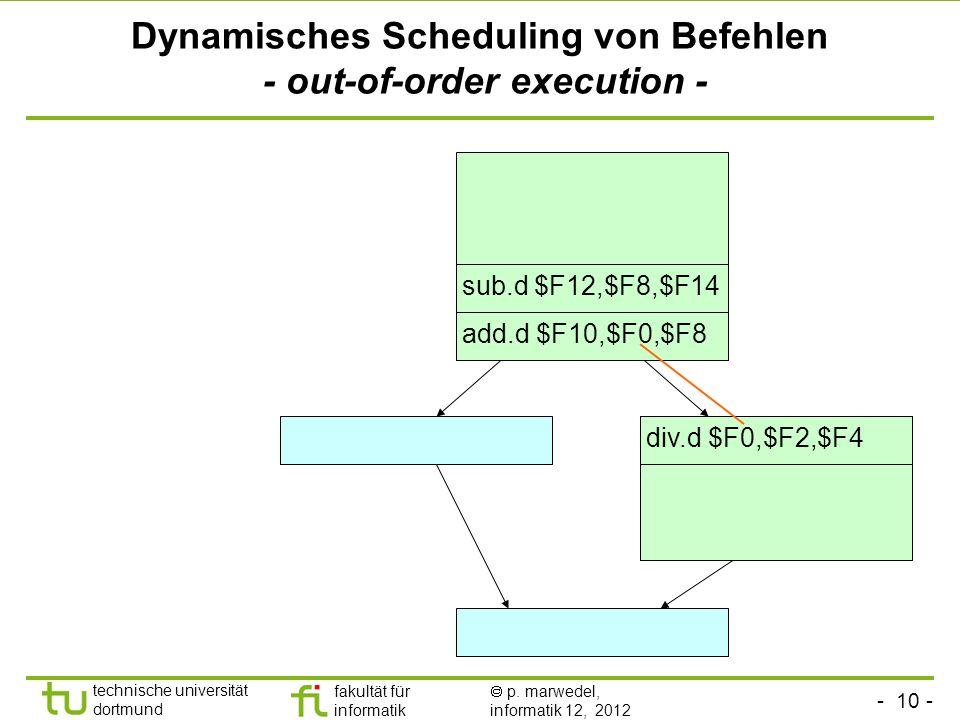 Dynamisches Scheduling von Befehlen - out-of-order execution -