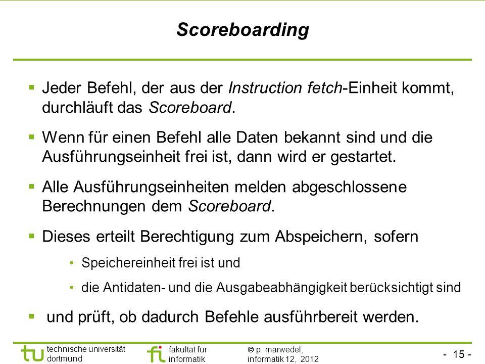 Scoreboarding Jeder Befehl, der aus der Instruction fetch-Einheit kommt, durchläuft das Scoreboard.