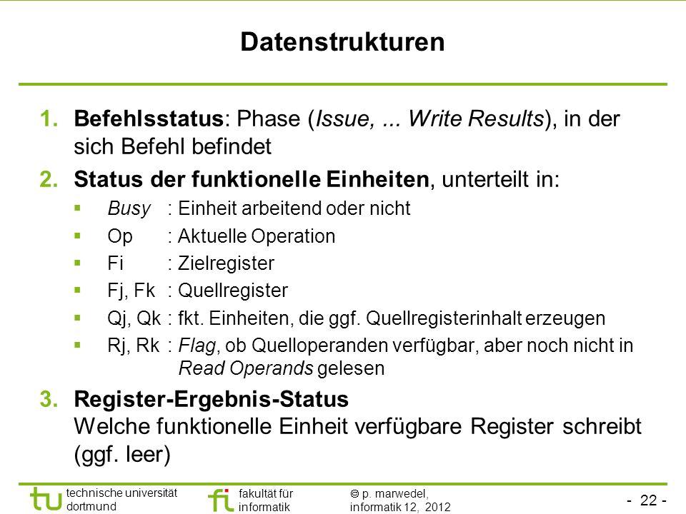 Datenstrukturen Befehlsstatus: Phase (Issue, ... Write Results), in der sich Befehl befindet. Status der funktionelle Einheiten, unterteilt in: