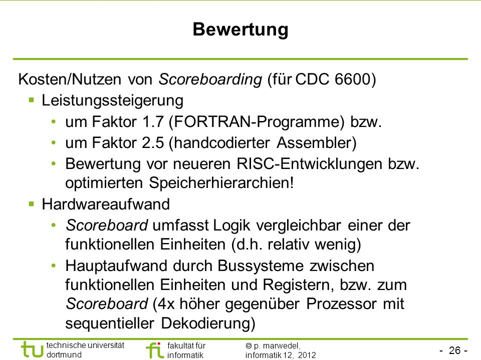 Bewertung Kosten/Nutzen von Scoreboarding (für CDC 6600)