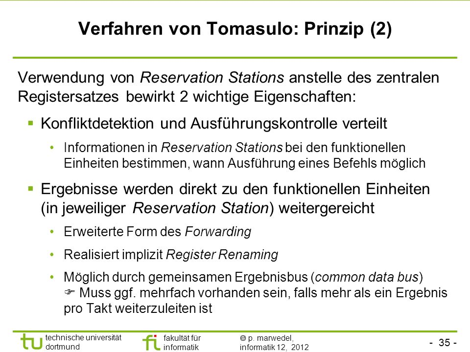 Verfahren von Tomasulo: Prinzip (2)