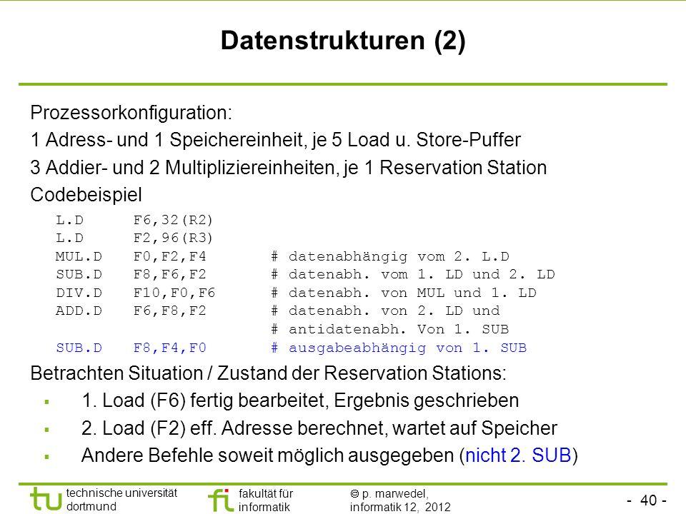 Datenstrukturen (2) Prozessorkonfiguration: