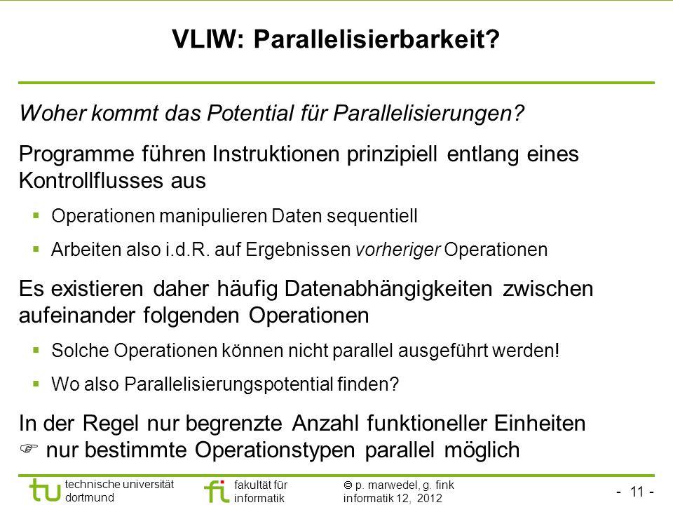 VLIW: Parallelisierbarkeit