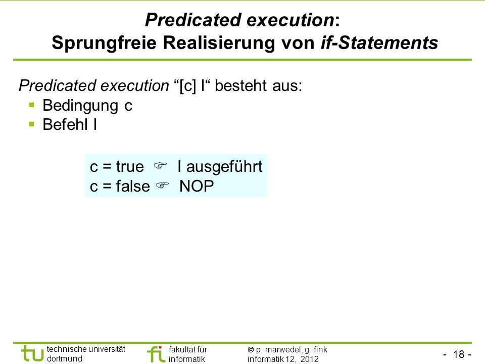 Predicated execution: Sprungfreie Realisierung von if-Statements