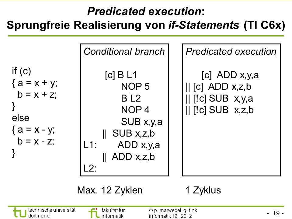 Predicated execution: Sprungfreie Realisierung von if-Statements (TI C6x)