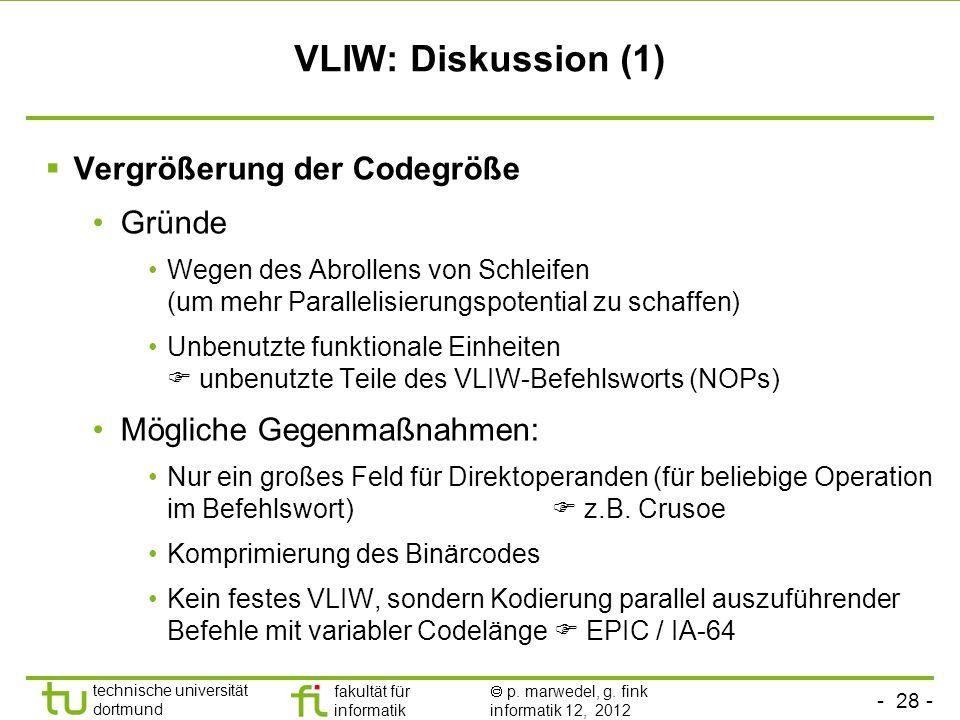 VLIW: Diskussion (1) Vergrößerung der Codegröße Gründe