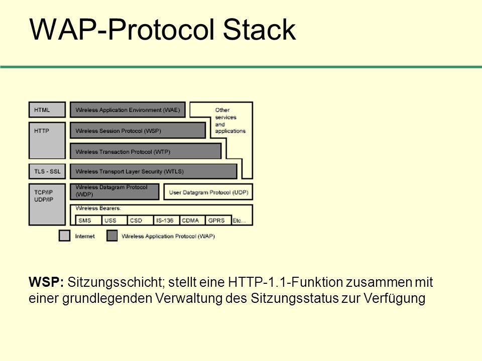 WAP-Protocol StackWSP: Sitzungsschicht; stellt eine HTTP-1.1-Funktion zusammen mit einer grundlegenden Verwaltung des Sitzungsstatus zur Verfügung.