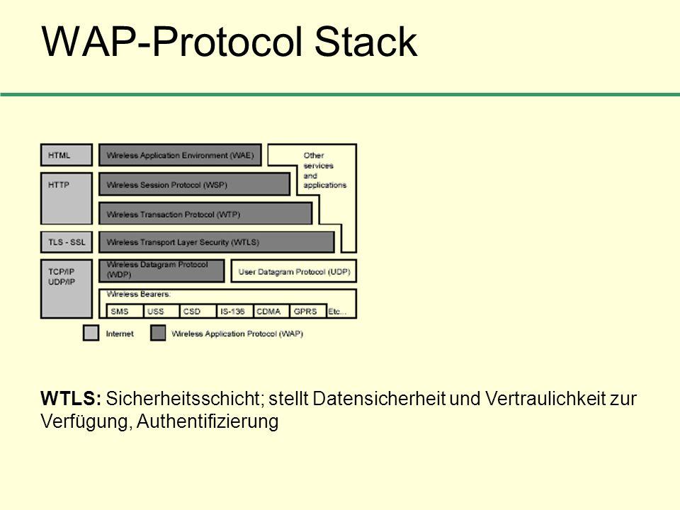 WAP-Protocol Stack WTLS: Sicherheitsschicht; stellt Datensicherheit und Vertraulichkeit zur Verfügung, Authentifizierung.