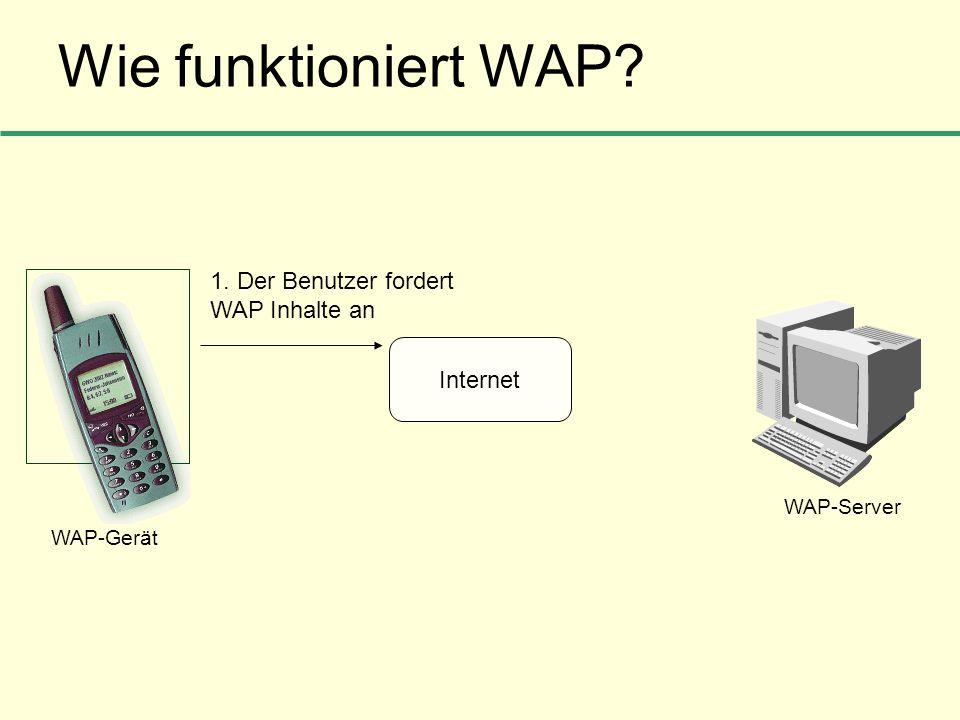 Wie funktioniert WAP 1. Der Benutzer fordert WAP Inhalte an Internet
