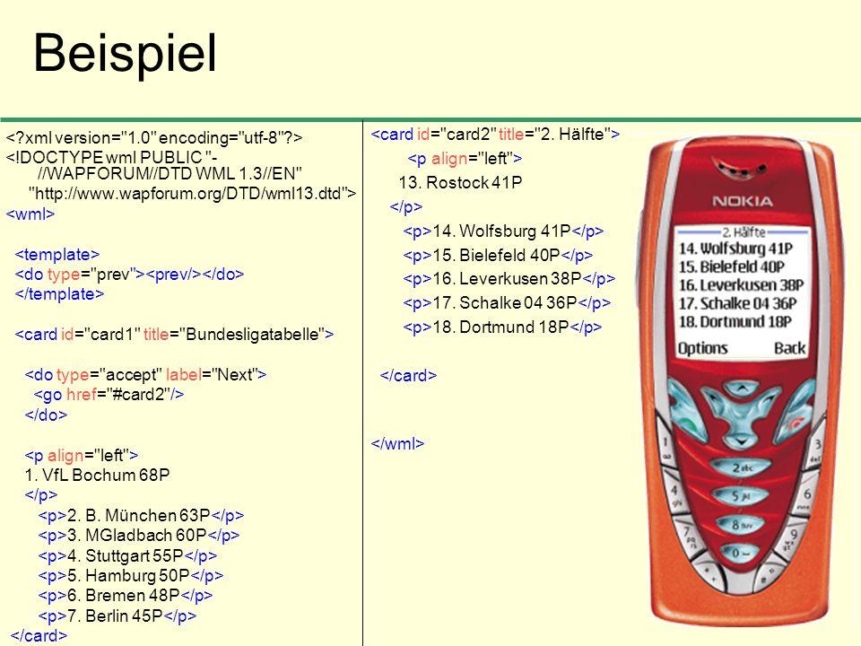Beispiel <card id= card2 title= 2. Hälfte >