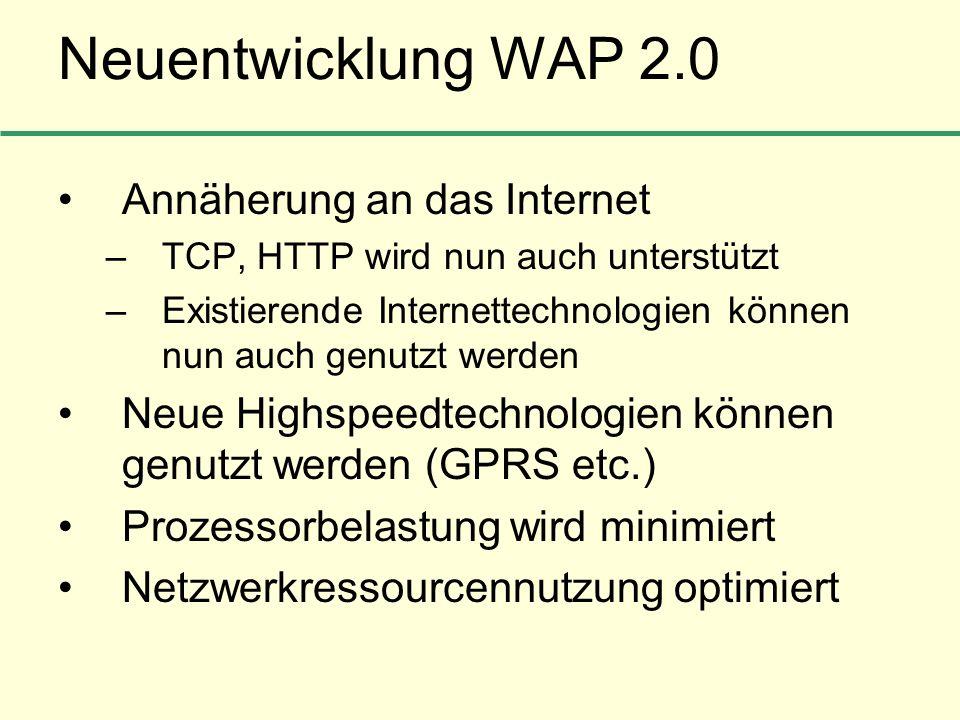 Neuentwicklung WAP 2.0 Annäherung an das Internet
