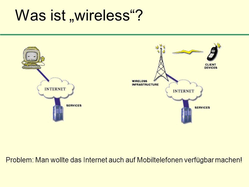 """Was ist """"wireless Problem: Man wollte das Internet auch auf Mobiltelefonen verfügbar machen!"""