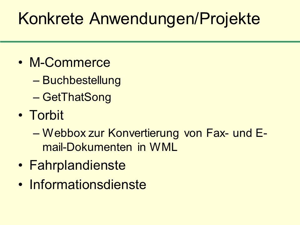 Konkrete Anwendungen/Projekte