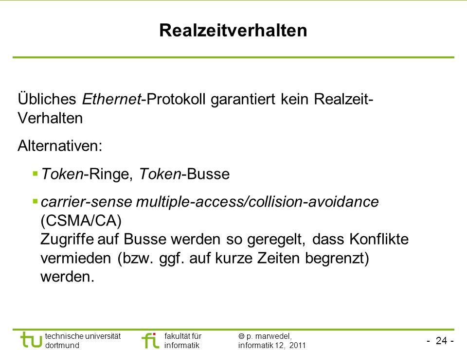 Realzeitverhalten Übliches Ethernet-Protokoll garantiert kein Realzeit-Verhalten. Alternativen: Token-Ringe, Token-Busse.