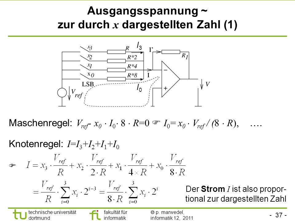 Ausgangsspannung ~ zur durch x dargestellten Zahl (1)