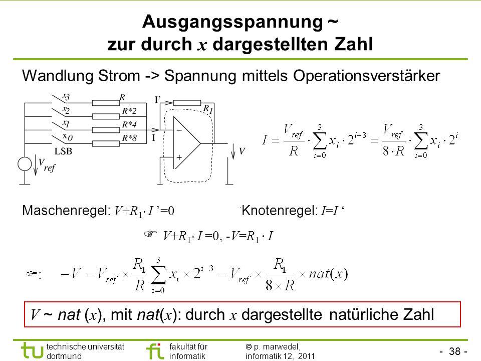 Ausgangsspannung ~ zur durch x dargestellten Zahl