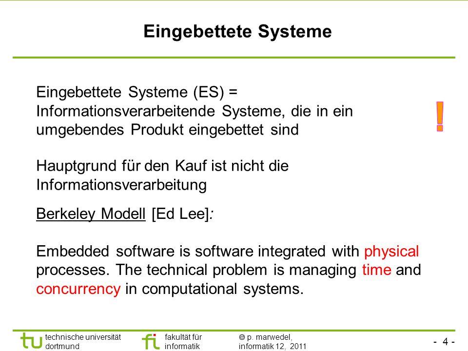 Eingebettete Systeme Eingebettete Systeme (ES) = Informationsverarbeitende Systeme, die in ein umgebendes Produkt eingebettet sind.