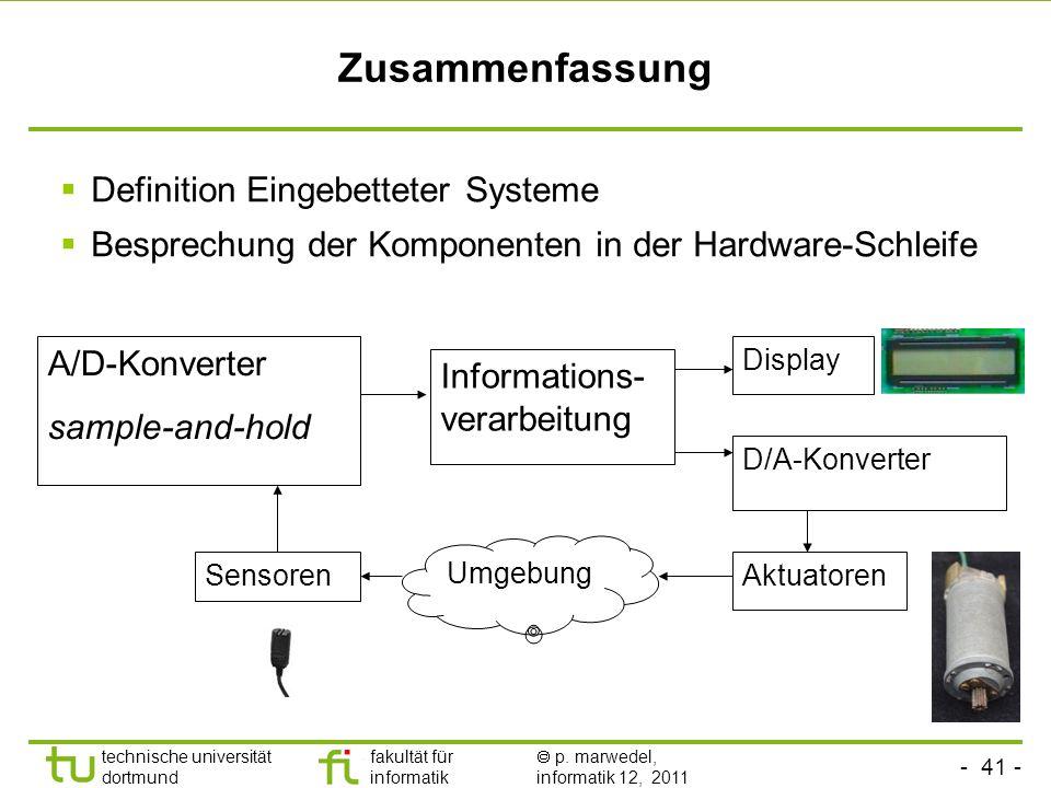 Zusammenfassung Definition Eingebetteter Systeme