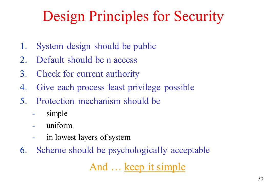 Design Principles for Security