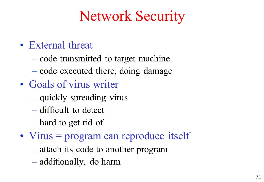 Network Security External threat Goals of virus writer
