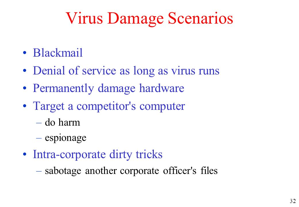 Virus Damage Scenarios