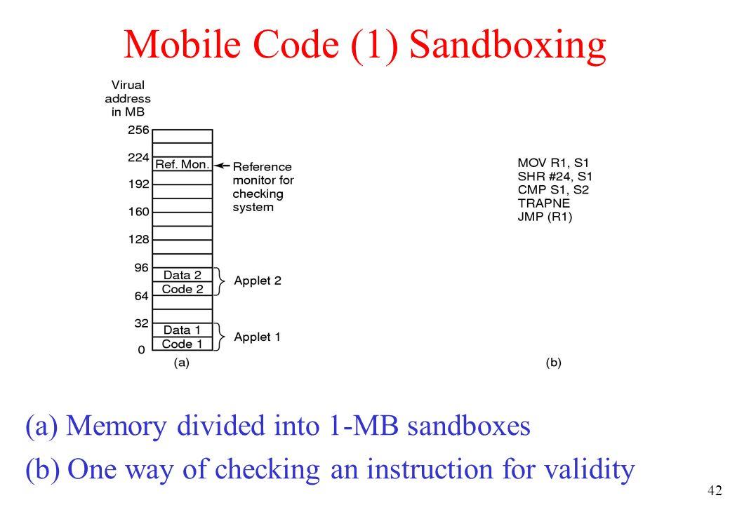 Mobile Code (1) Sandboxing