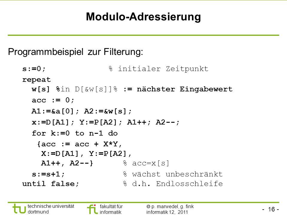 Modulo-Adressierung Programmbeispiel zur Filterung: