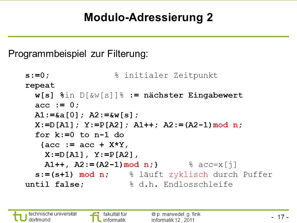 Modulo-Adressierung 2 Programmbeispiel zur Filterung: