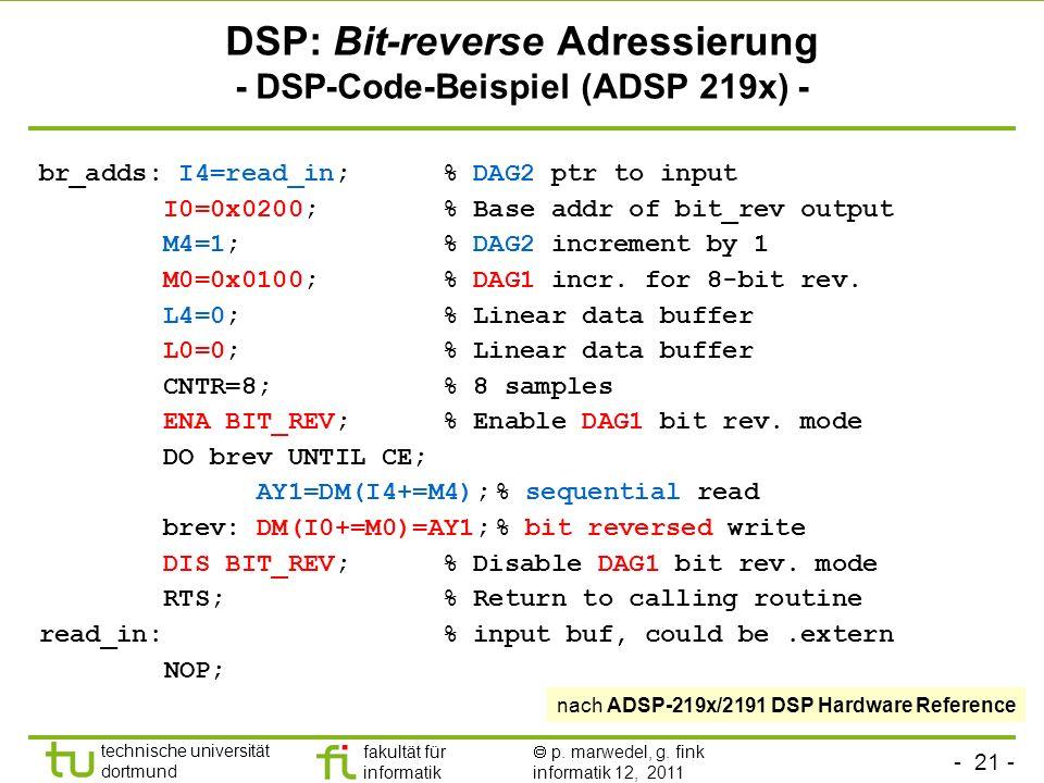 DSP: Bit-reverse Adressierung - DSP-Code-Beispiel (ADSP 219x) -
