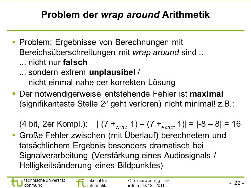 Problem der wrap around Arithmetik