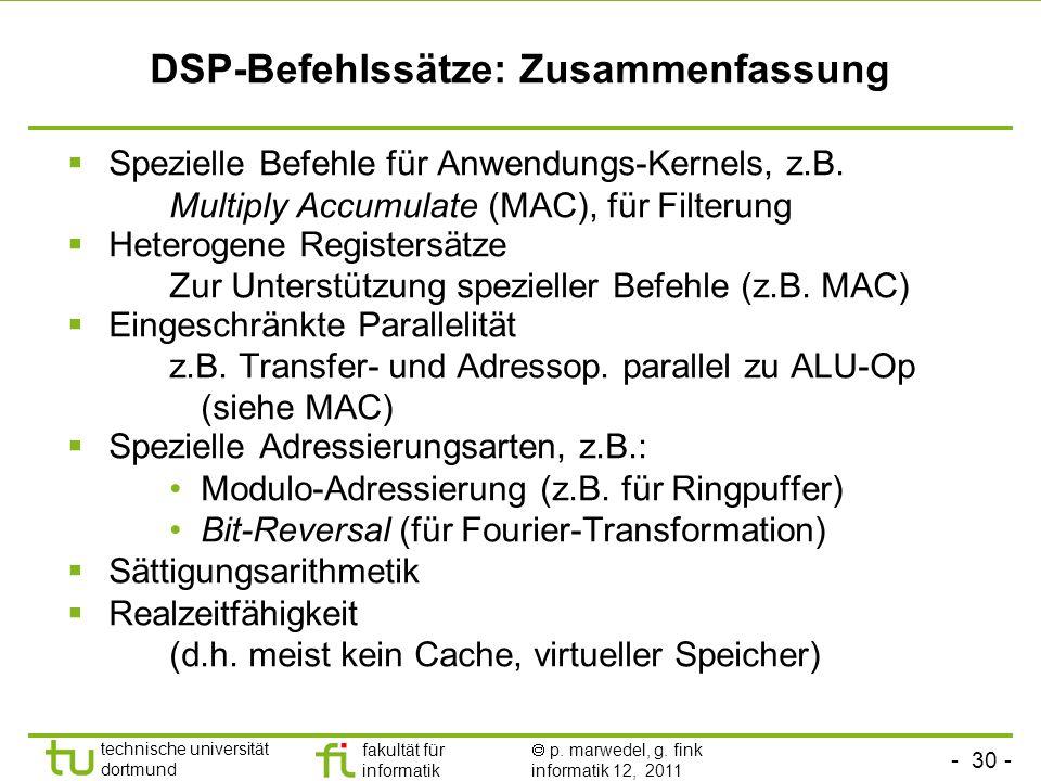 DSP-Befehlssätze: Zusammenfassung