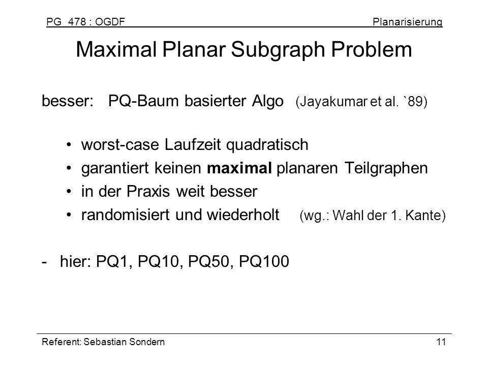 Maximal Planar Subgraph Problem
