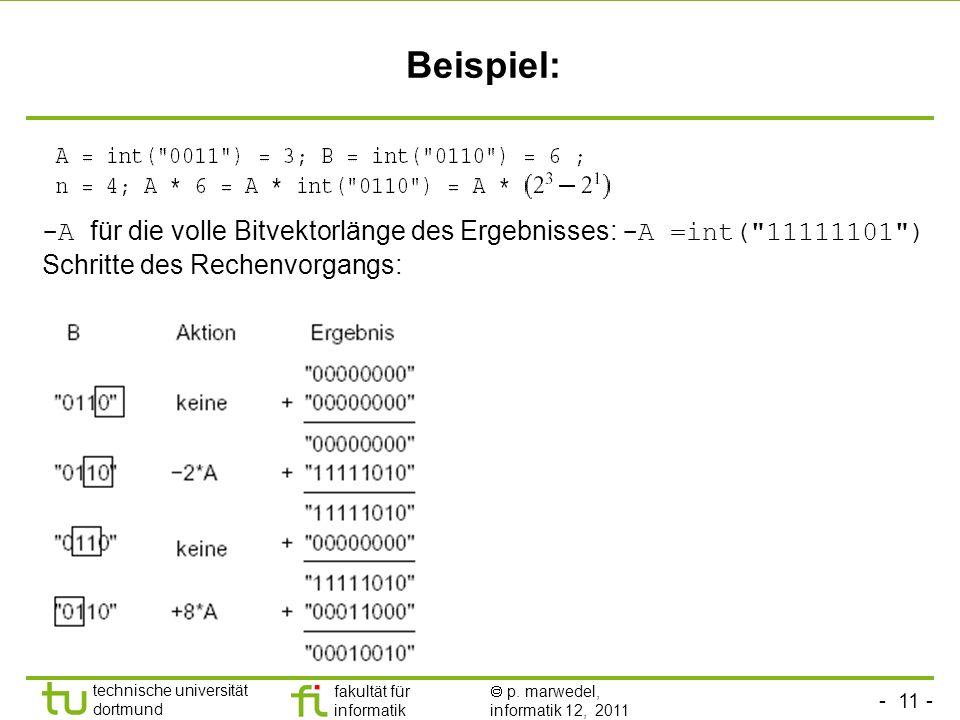 Beispiel: -A für die volle Bitvektorlänge des Ergebnisses: -A =int( 11111101 ) Schritte des Rechenvorgangs: