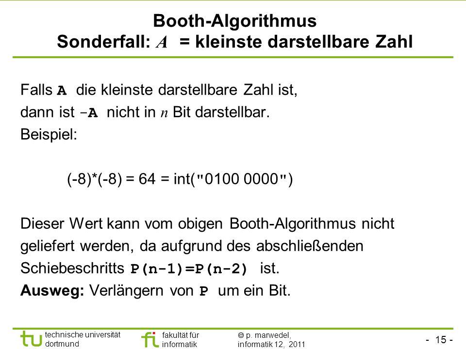 Booth-Algorithmus Sonderfall: A = kleinste darstellbare Zahl