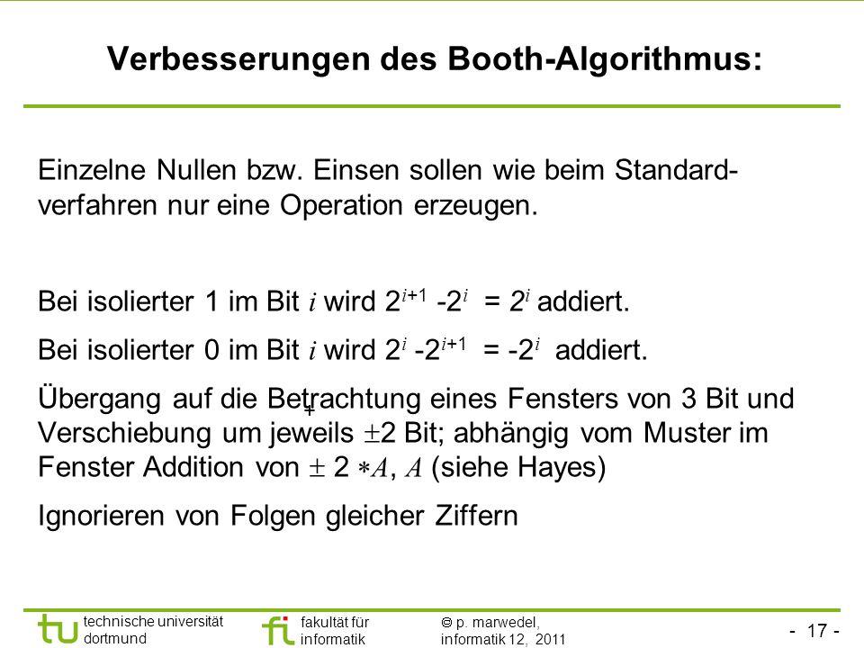 Verbesserungen des Booth-Algorithmus: