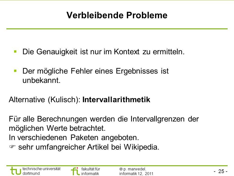 Verbleibende Probleme