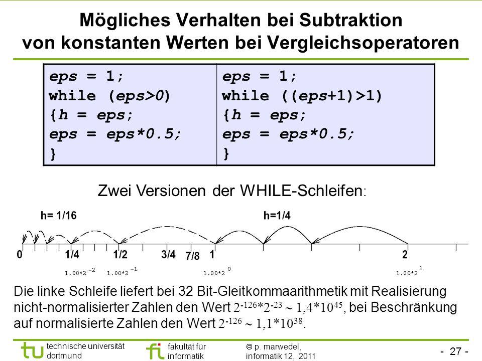 Mögliches Verhalten bei Subtraktion von konstanten Werten bei Vergleichsoperatoren