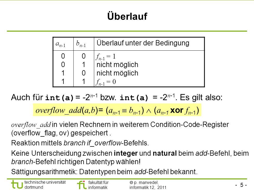 Überlauf Auch für int(a)= -2n-1 bzw. int(a) = -2n-1. Es gilt also: