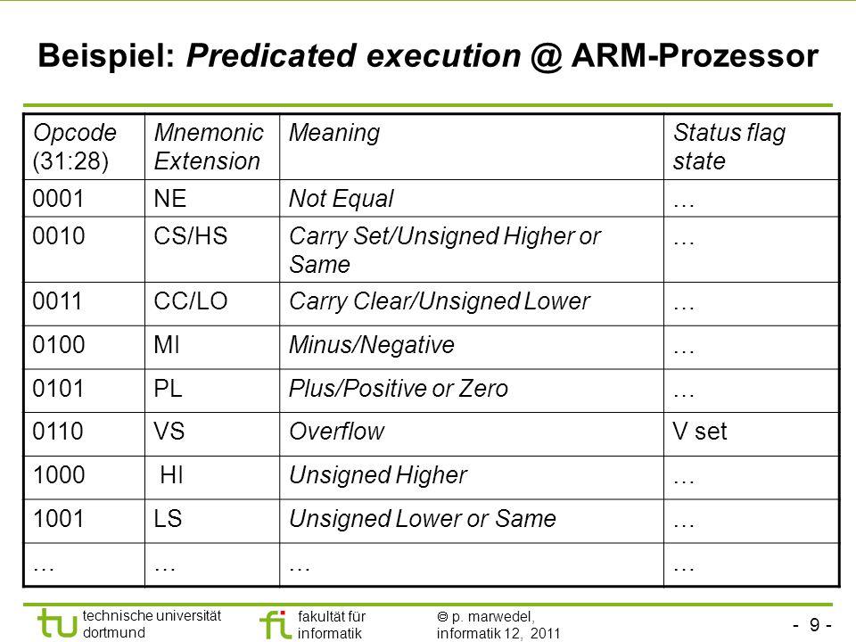 Beispiel: Predicated execution @ ARM-Prozessor