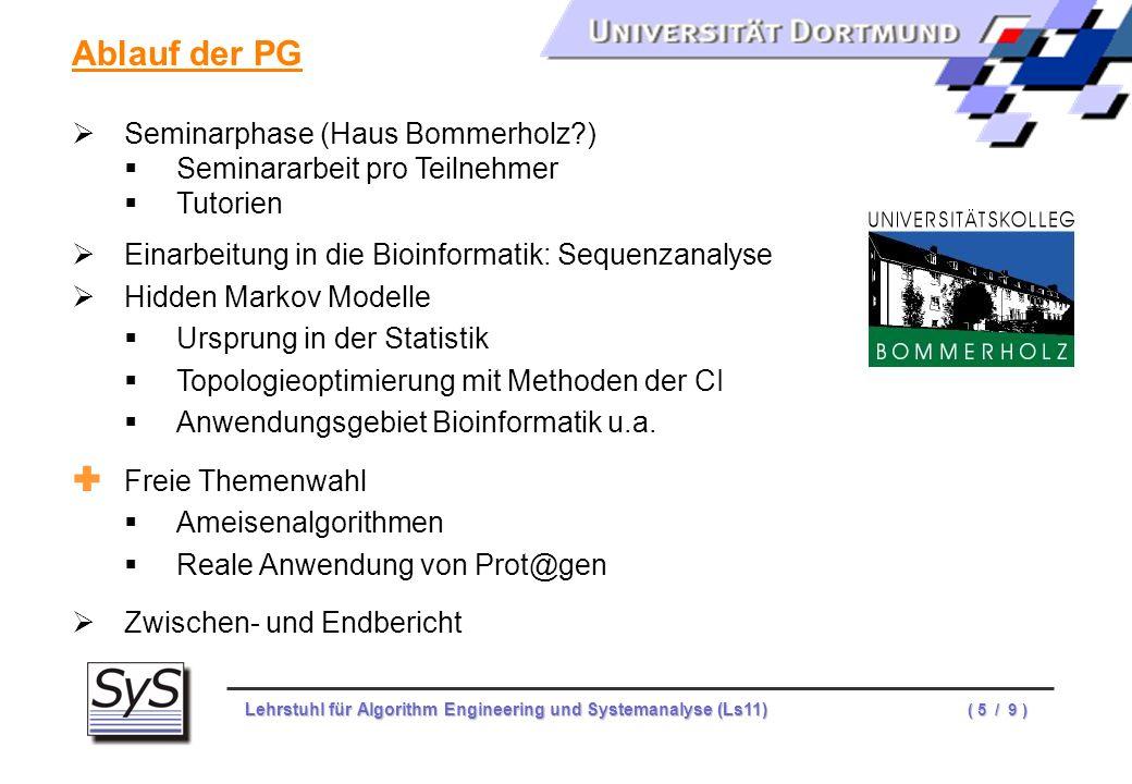 Ablauf der PG Seminarphase (Haus Bommerholz )