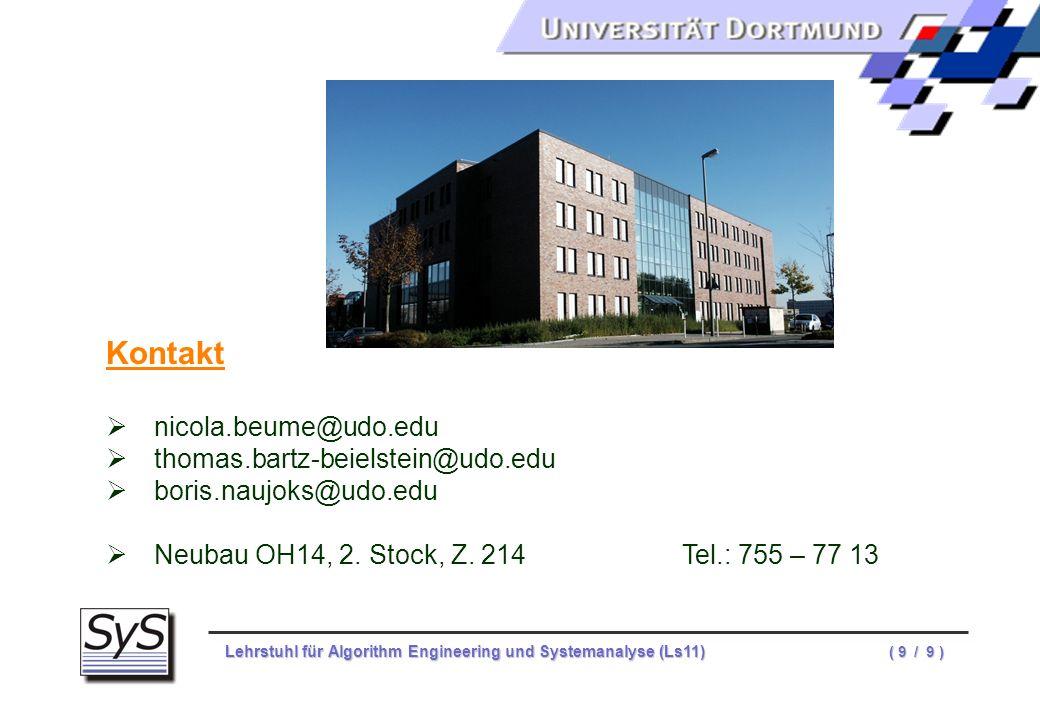 Kontakt nicola.beume@udo.edu thomas.bartz-beielstein@udo.edu