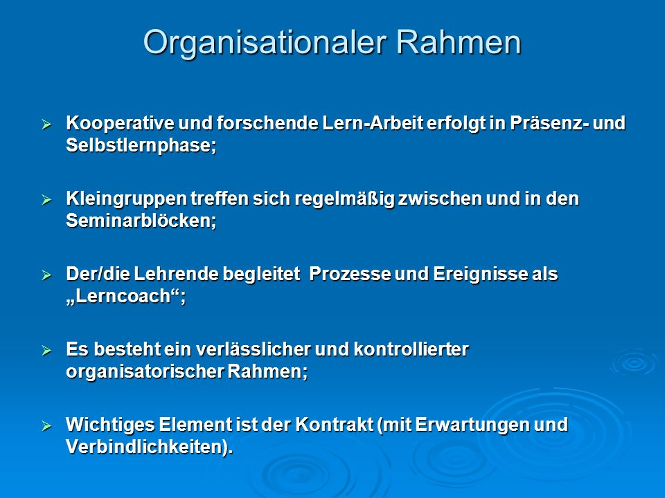 Organisationaler Rahmen