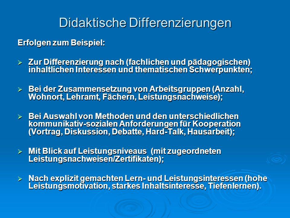 Didaktische Differenzierungen