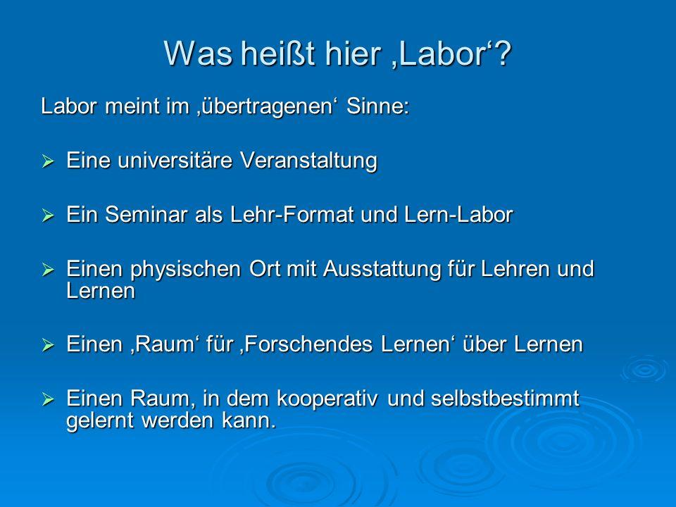 Was heißt hier 'Labor' Labor meint im 'übertragenen' Sinne:
