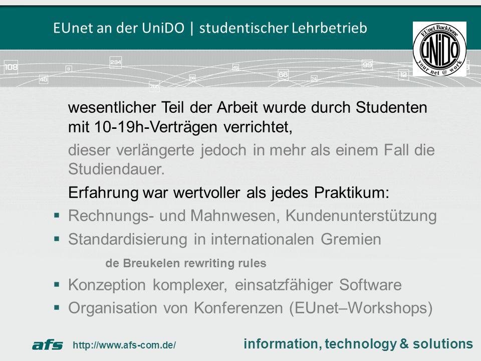 EUnet an der UniDO | studentischer Lehrbetrieb