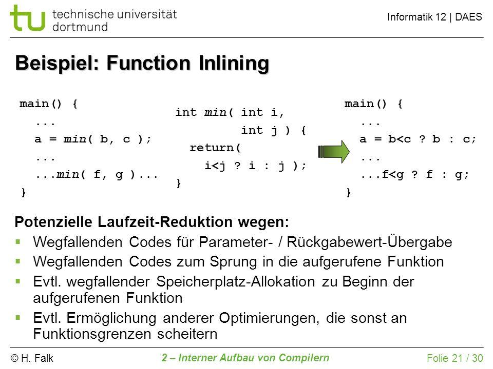 Beispiel: Function Inlining