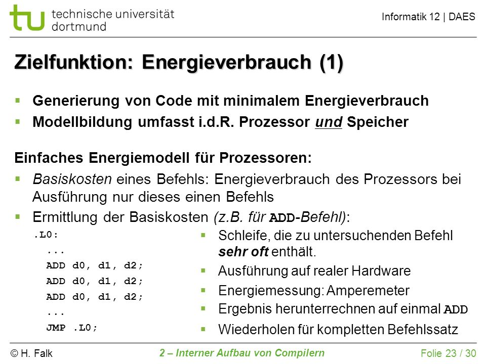 Zielfunktion: Energieverbrauch (1)