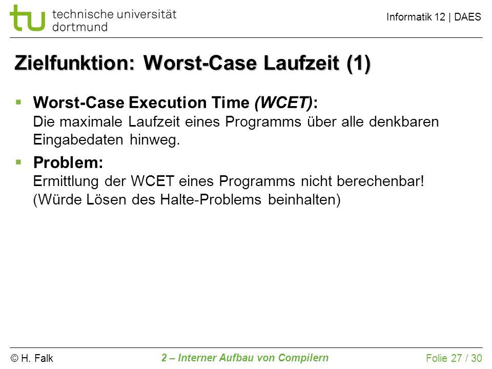 Zielfunktion: Worst-Case Laufzeit (1)