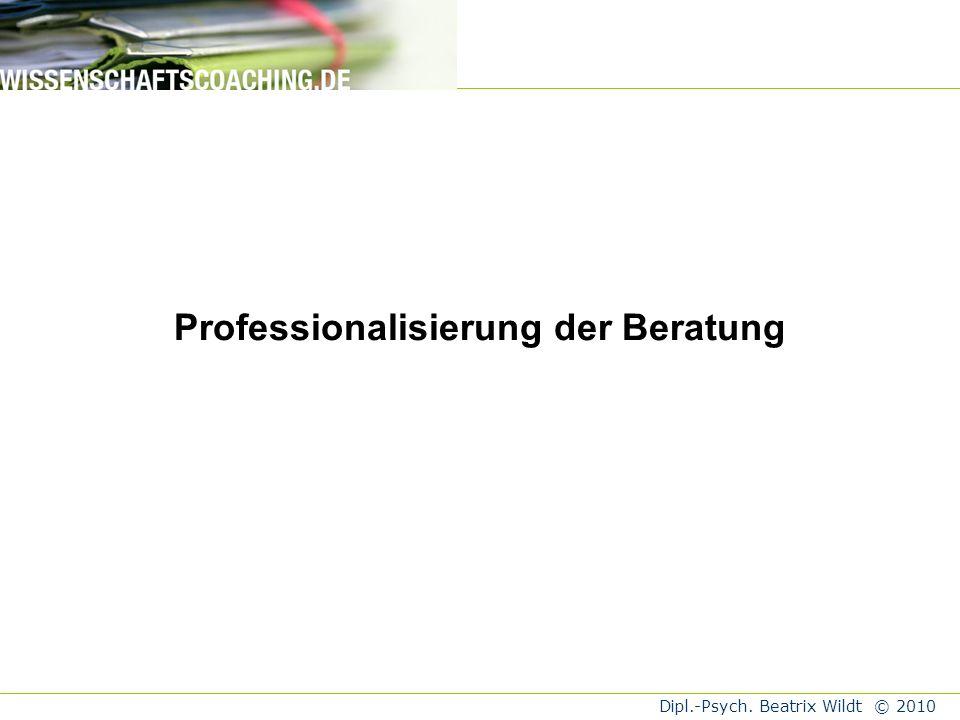 Professionalisierung der Beratung