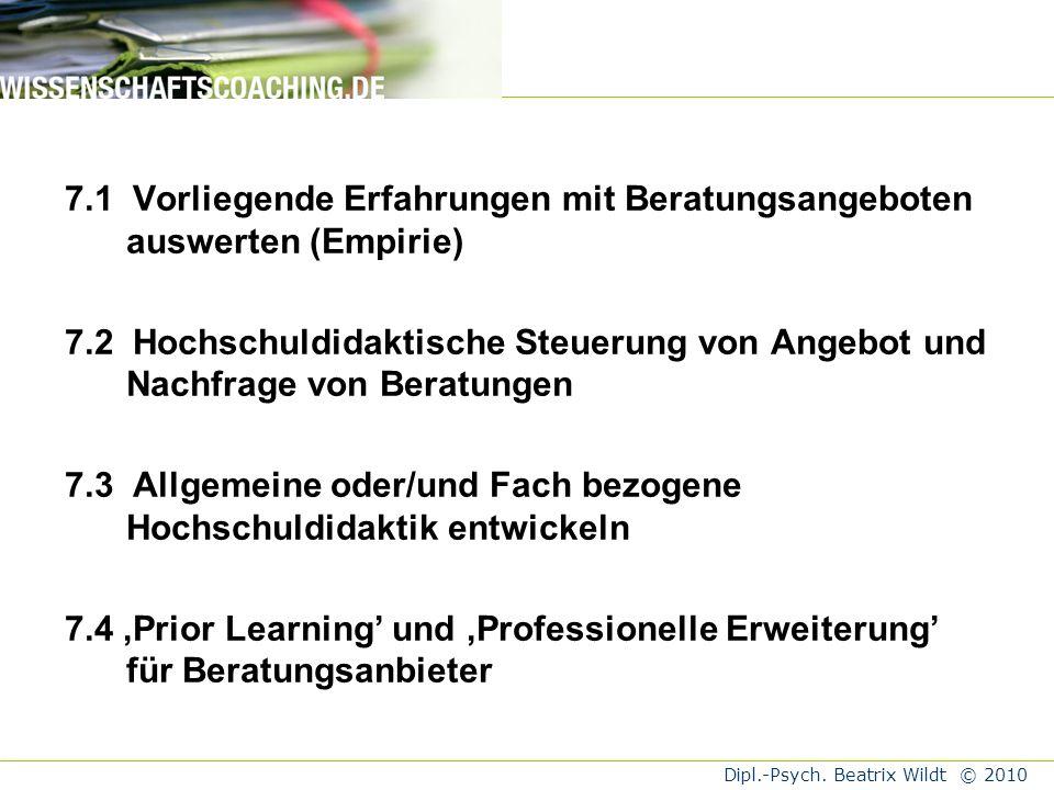 7.1 Vorliegende Erfahrungen mit Beratungsangeboten auswerten (Empirie)